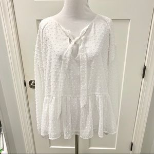 NWT Cupcakes and Cashmere White Tie Blouse